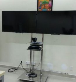 Bracket Dual TV Standing Stainless Steel