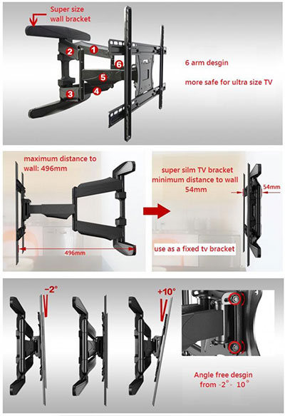 Bracket TV Swivel Tengok Kiri Kanan North Bayou NB-P6-1